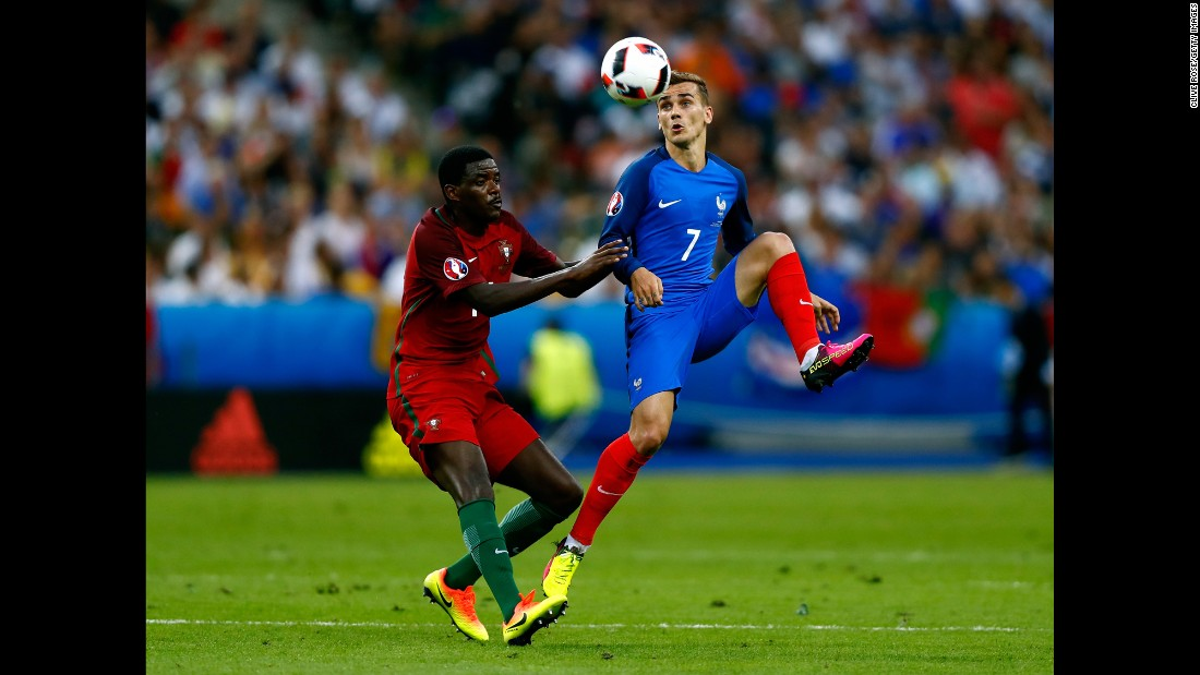 France's top scorer Griezmann found it difficult to make an impression during a tight first half.