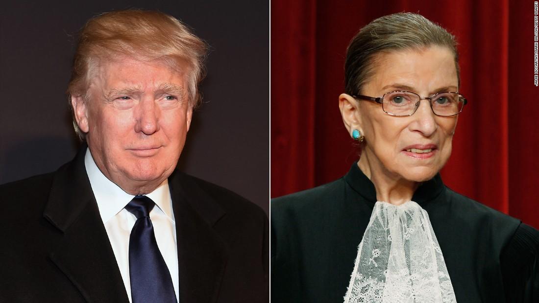 Justice Ruth Bader Ginsburg calls Trump a 'faker,' he says she should resign