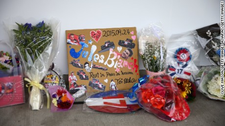 Tributes were laid next to the Manor Marussia garage before the 2015 Japanese Grand Prix.
