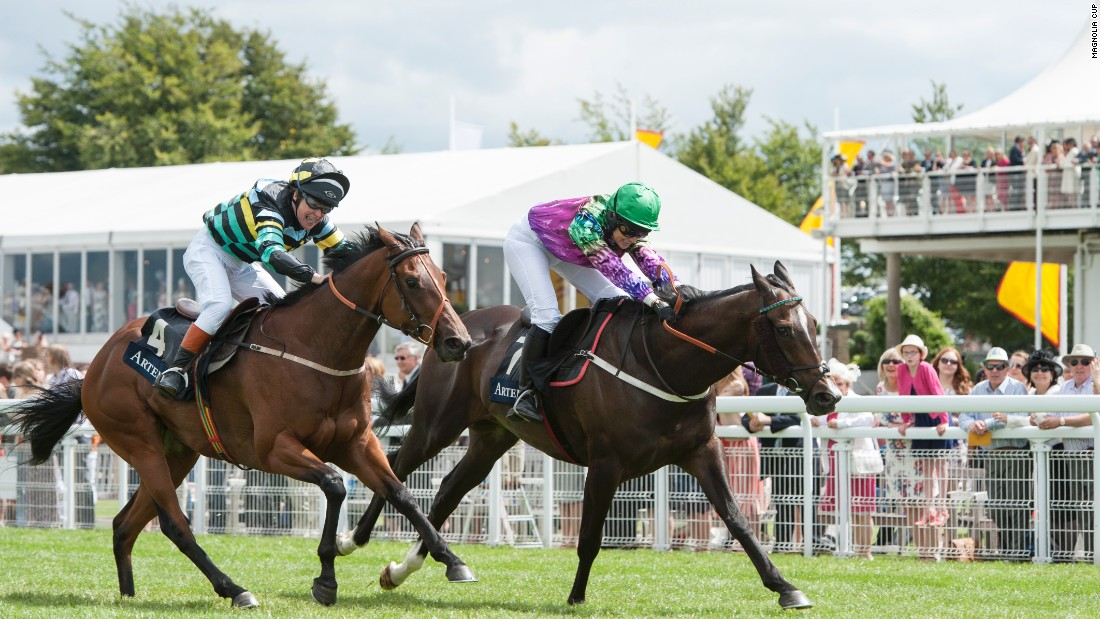 The charity race opens the festival's Ladies' Day, with the competitors racing in front of 40,000 spectators.