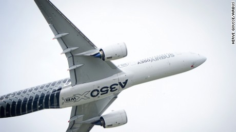 Farnborough Airshow_Day 2_A350 XWB flying display 1 Airbus' next-generation A350 XWB soars above the Farnborough International Airshow on a Day 2 flying display at this biennial industry gathering