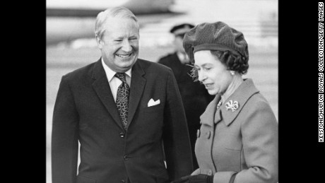 The Queen with British Prime Minister Edward Heath at Heathrow Airport, London, January 28, 1974.