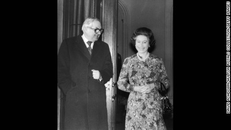 British Prime Minister James Callaghan with the Queen on his arrival at Windsor Castle.