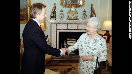 The Queen receives British Prime Minister Tony Blair May 6, 2005, at Buckingham Palace.