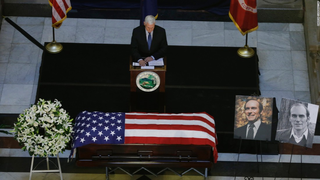 Pence speaks during a memorial service for former Indiana Rep. Andrew Jacobs Jr. at the statehouse on January 3, 2014. Jacobs died on December 28, 2013, at age 81.