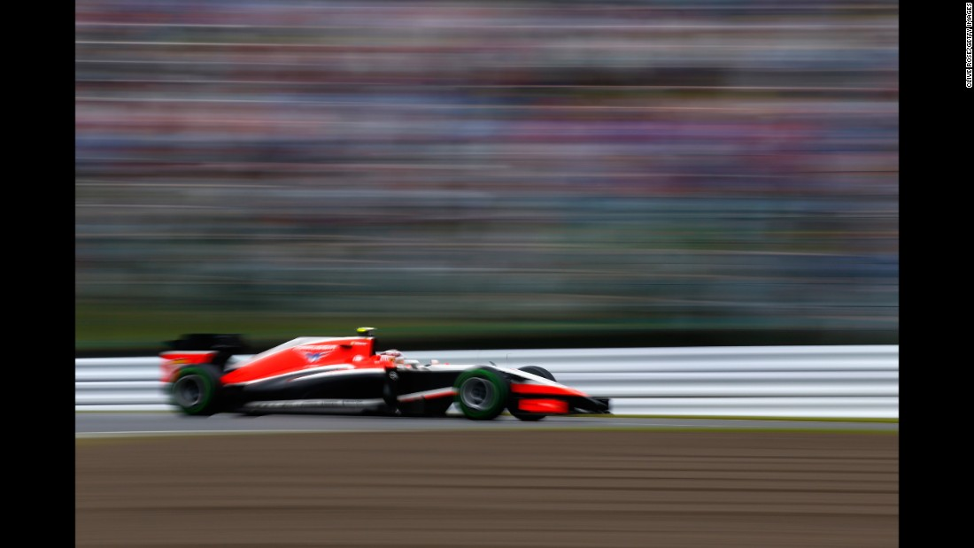 Bianchi drives during the Japanese GP at the Suzuka Circuit on the day of the accident that caused his fatal injuries, October 5, 2014, in Suzuka, Japan.