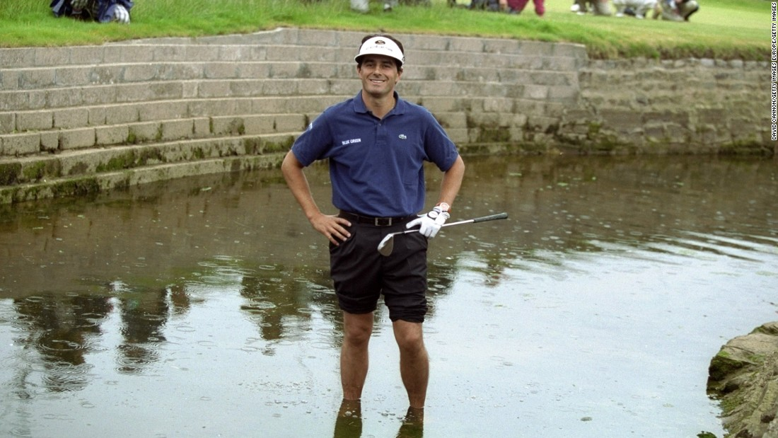 And who could forget the unfortunate Frenchman, Jean van de Velde! Able to make a double bogey on the final hole and still win the Championship at Carnoustie, his name might as well have been etched on the trophy. Three shots later, he was hands-on-hips, barefoot in the Barry Burn river -- and the Gallows humor was not finished there! Hitting his fifth shot into a greenside bunker, the Frenchman had well and truly missed when it was easier to score. In most instances, nobody remembers the man that finished second; in Van de Velde's case, his meltdown defines him to this day.