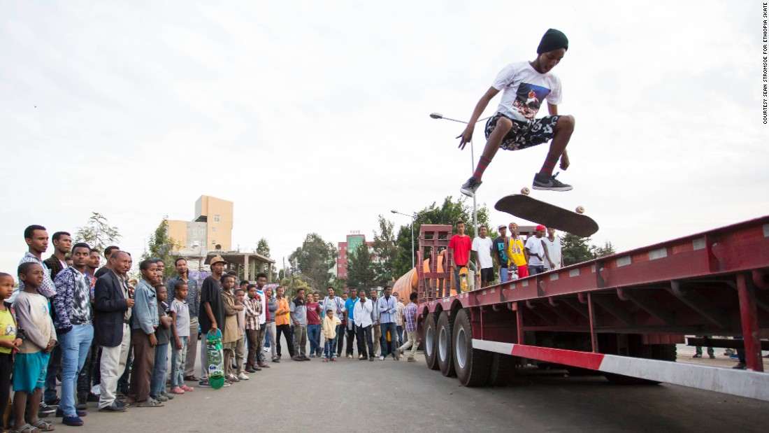 The crew skate across trucks, cars and other high structures in their neighborhood to practice their jumps.