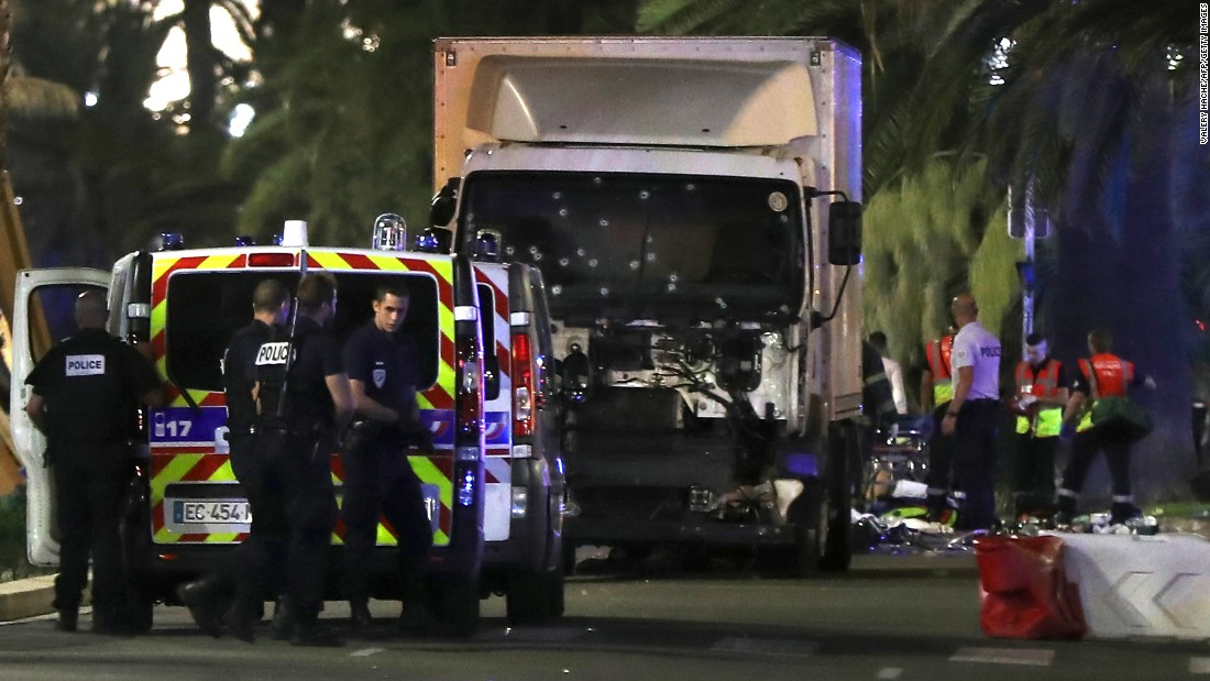 The truck plowed into a crowd leaving a Bastille Day fireworks display in the French resort city of Nice. One witness, an American who was about 15 feet from the truck, said the driver accelerated and pointed his tractor-trailer into the crowd, mowing people over.