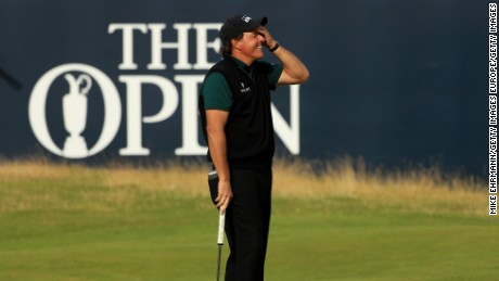 Mickelson was devastated to see his final history-making putt stay out.