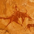african rock art Chad - Mounted camel