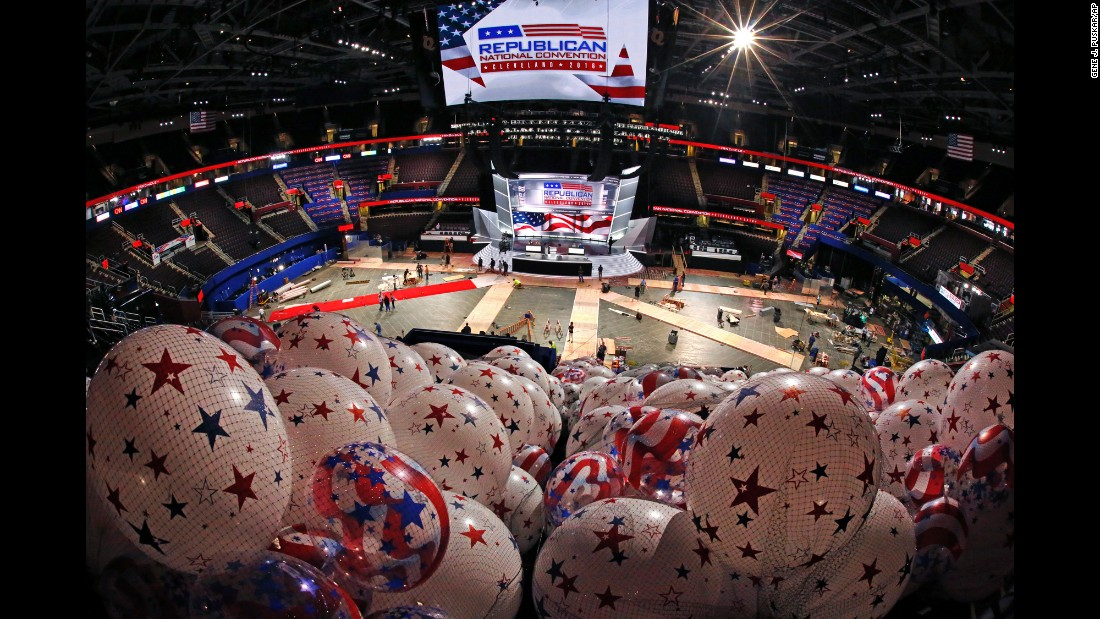 "Balloons are ready as preparation continues Thursday, July 14, for the <a href=""http://www.cnn.com/2016/07/12/politics/cnnphotos-cleveland-alex-webb/"" target=""_blank"">upcoming Republican National Convention</a> in Cleveland. The convention is to take place from July 18 through 21."