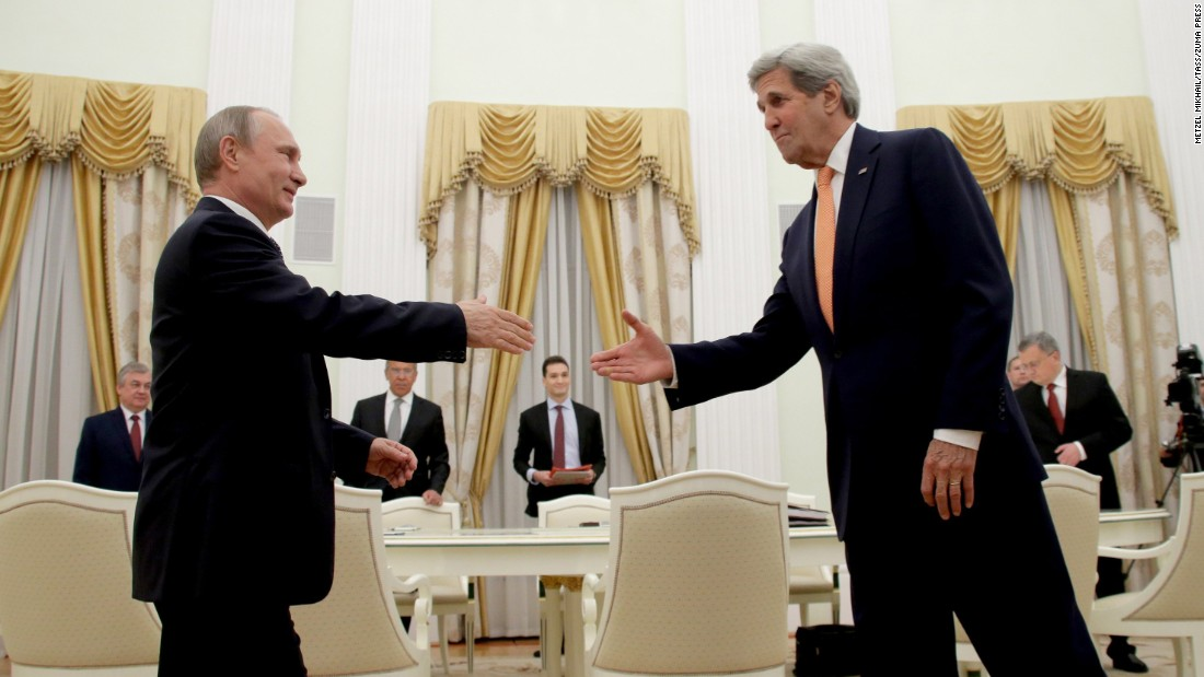 Russian President Vladimir Putin, left, and U.S. Secretary of State John Kerry meet at Moscow's Kremlin on Thursday, July 14.