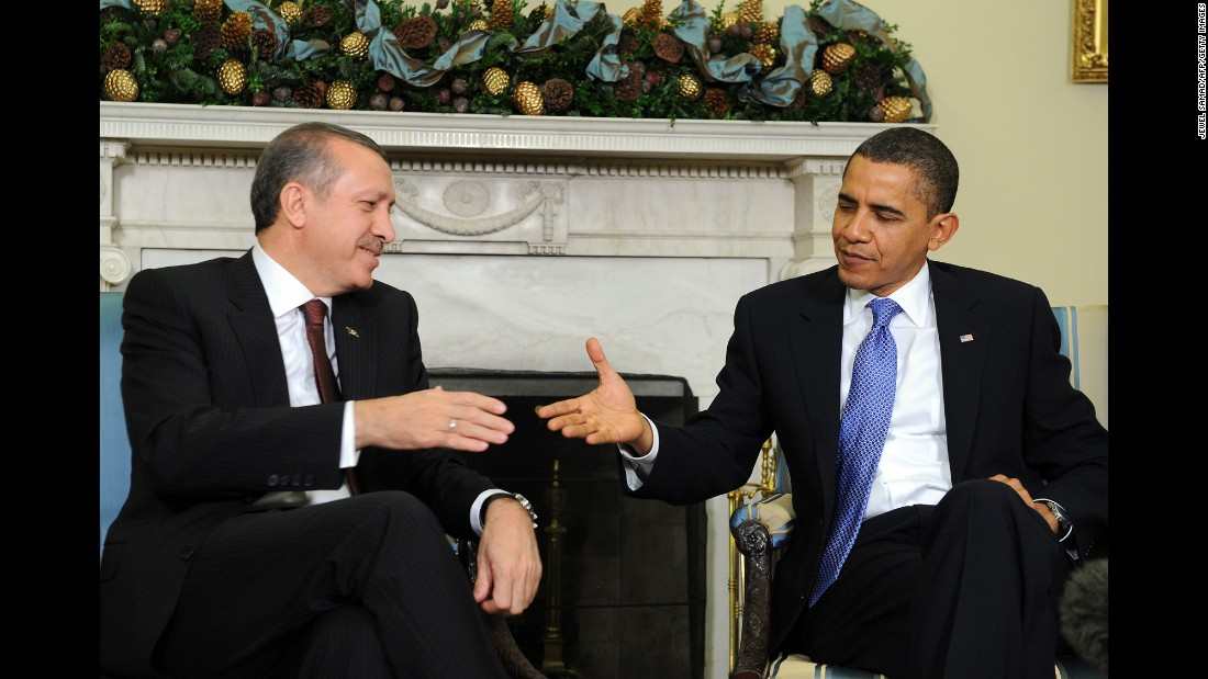 U.S. President Barack Obama shakes hands with Erdogan during a meeting in the Oval Office at the White House in Washington on December 7, 2009.