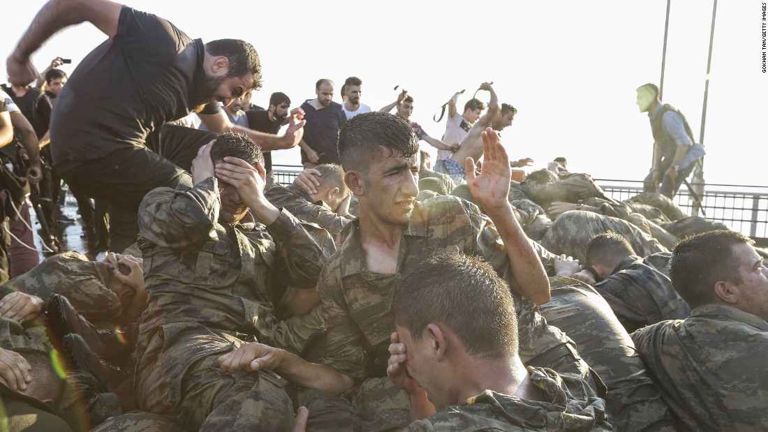 Members of the Turkish military surrender on Istanbul's Bosphorus Bridge on after a failed  coup attempt.