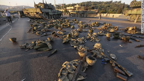Clothes and weapons beloging to soldiers involved in the coup attempt lie on the ground abandoned on Bosphorus Bridge.