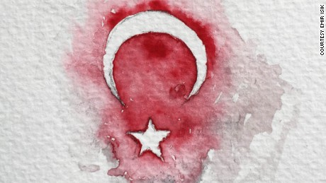 Emir Isik's sketch of the Turkish flag.