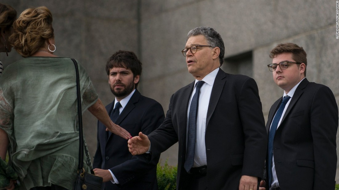 "Sen. Al Franken, center, arrives outside the<a href=""http://www.cnn.com/2016/07/14/us/police-shootings-investigations/"" target=""_blank""> funeral of Philando Castile</a> at the Cathedral of St. Paul on Thursday, July 14, in St. Paul, Minnesota. Castile was shot and killed on July 6 by police in Falcon Heights, Minnesota. Fraken, along with fellow Minnesota Sen. Amy Klobuchar and Minnesota Reps. Betty McCollum and Keith Ellison, sent a letter to Attorney General Loretta Lynch asking for a federal investigation into the death of  Castile, according to a letter provided to CNN.<br />"