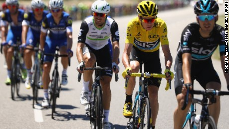 Chris Froome rides in the yellow Jersey for Team Sky during the 14th stage from Montelimar to Villars-les-Dombes Parc des Oiseaux.