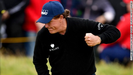 Mickelson's first birdie Saturday came at the 13th hole.