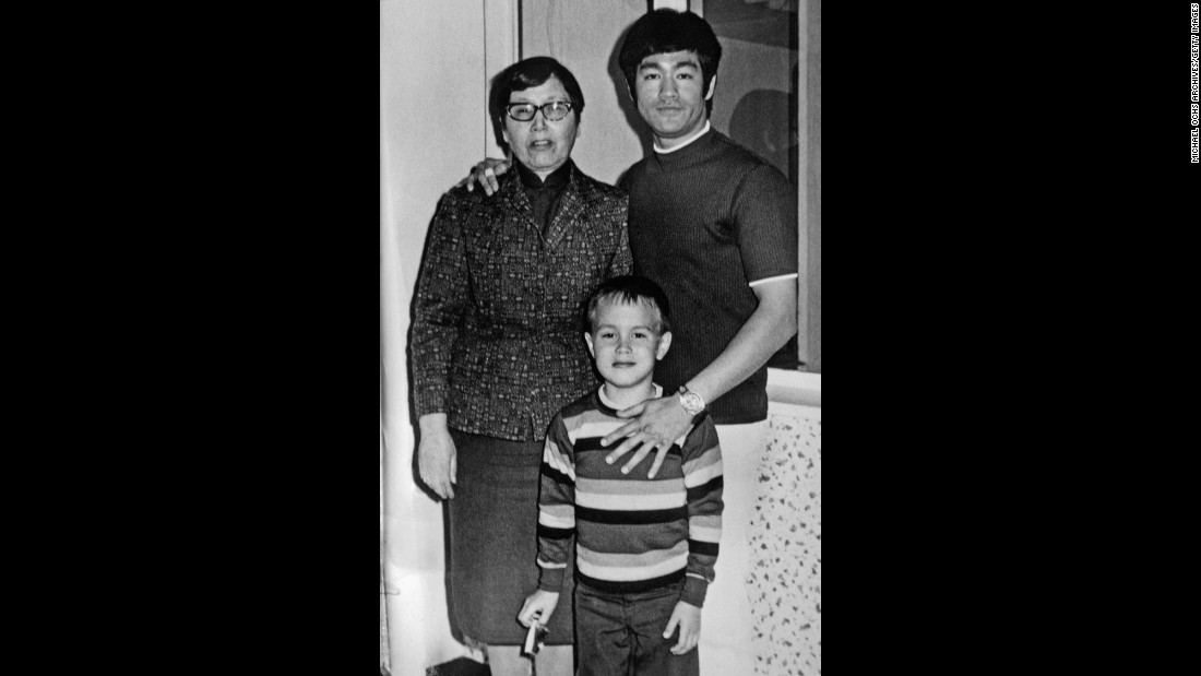 Bruce Lee, his mother and son Brandon pose for a family snapshot circa 1970 in Los Angeles. Lee taught Brandon the martial arts. Brandon would later become an actor and martial artist before a tragic accident ended his life in 1993.