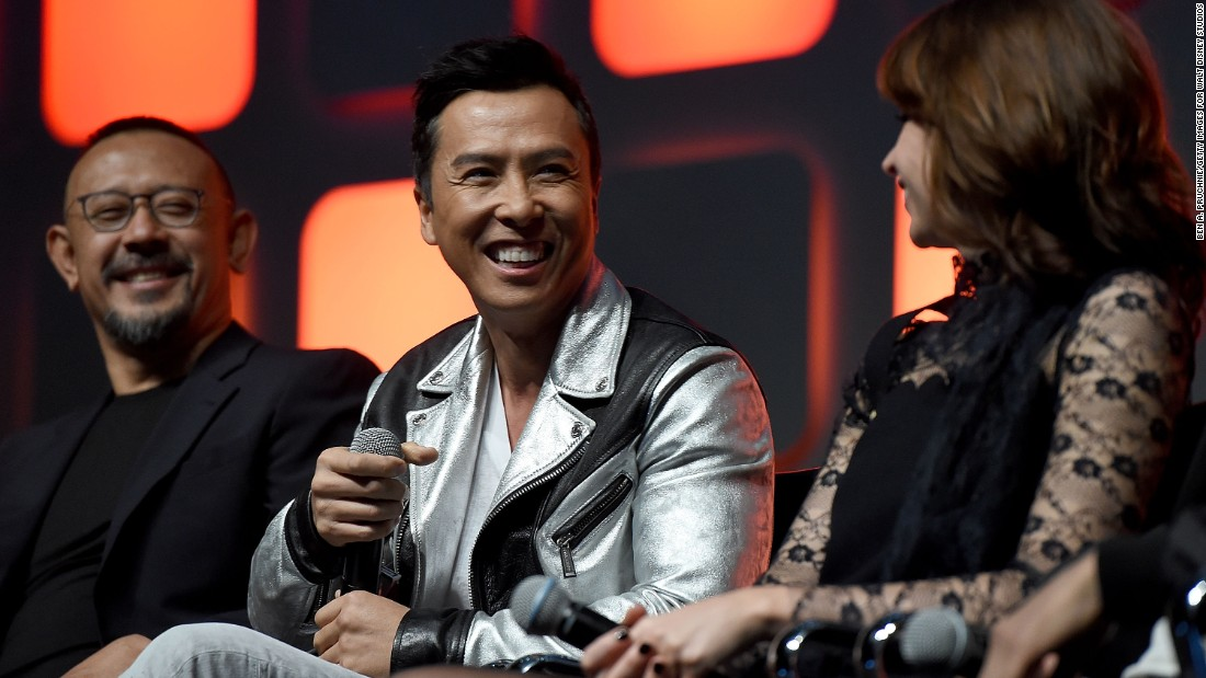 "From left, Jiang Wen, Donnie Yen and Felicity Jones during the ""Rogue One"" panel at the ""Star Wars"" Celebration."
