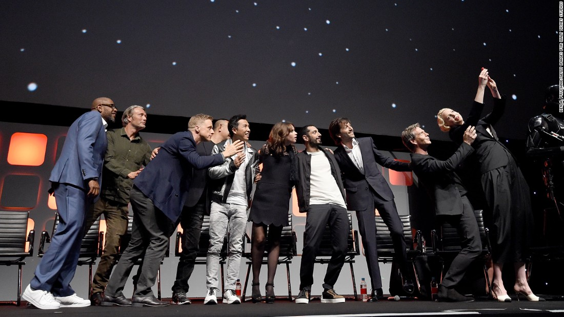 "From left, Whitaker, Mikkelsen, Alan Tudyk, Wen, Yen, Jones, Riz Ahmed,  Luna, Mendelsohn and Christie  during the ""Rogue One"" panel."