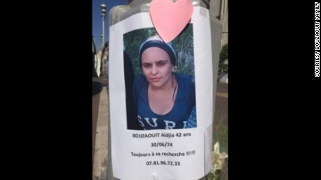 This photograph of Nice attack victim Aldjia Bouzaouit was posted around the city by her family, who was desperately trying to find her.