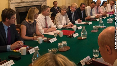 May is pictured at her first Cabinet meeting Tuesday.