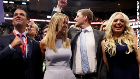 CLEVELAND, OH - JULY 19:  Donald Trump Jr. (L), along with Ivanka Trump (2nd-L), Eric Trump (2nd-R) and Tiffany Trump (R), take part in the roll call in support of Republican presidential candidate Donald Trump on the second day of the Republican National Convention on July 19, 2016 at the Quicken Loans Arena in Cleveland, Ohio. An estimated 50,000 people are expected in Cleveland, including hundreds of protesters and members of the media. The four-day Republican National Convention kicked off on July 18.  (Photo by Joe Raedle/Getty Images)