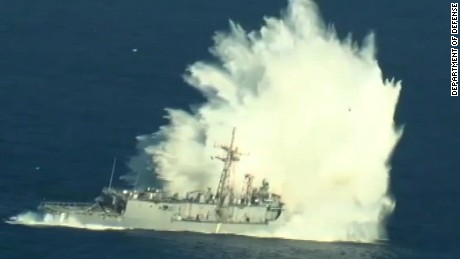 (July 14, 2016) - Aerial video of the sinking exercise (SINKEX) of the decommissioned USS Thach (FFG 43) during Rim of the Pacific 2016. Participants in the exercise include U.S., Canada, Australia, and the Republic of Korea. Twenty-six nations, more than 40 ships and submarines, more than 200 aircraft, and 25,000 personnel are participating in RIMPAC from June 30 to Aug. 4, in and around the Hawaiian Islands and Southern California. The world's largest international maritime exercise, RIMPAC provides a unique training opportunity that helps participants foster and sustain the cooperative relationships that are critical to ensuring the safety of sea lanes and security on the world's oceans. RIMPAC 2016 is the 25th exercise in the series that began in 1971. (U.S. Navy video)