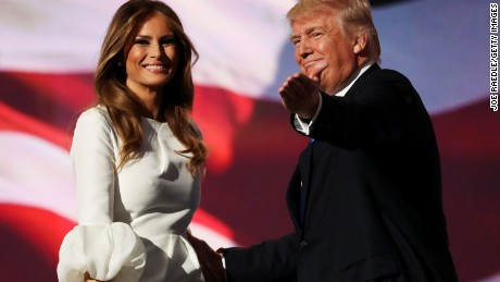 CLEVELAND, OH - JULY 18:  Presumptive Republican presidential nominee Donald Trump introduces his wife Melania on the first day of the Republican National Convention on July 18, 2016 at the Quicken Loans Arena in Cleveland, Ohio. An estimated 50,000 people are expected in Cleveland, including hundreds of protesters and members of the media. The four-day Republican National Convention kicks off on July 18.  (Photo by Joe Raedle/Getty Images)
