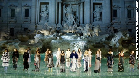 ROME, ITALY - JULY 07:  Models walk the runway at Fendi Roma 90 Years Anniversary fashion show at Fontana di Trevi on July 7, 2016 in Rome, Italy.  (Photo by Victor Boyko/Getty Images )
