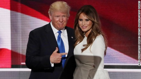CLEVELAND, OH - JULY 18:  Presumptive Republican presidential nominee Donald Trump gestures to his wife Melania after she delivered a speech on the first day of the Republican National Convention on July 18, 2016 at the Quicken Loans Arena in Cleveland, Ohio. An estimated 50,000 people are expected in Cleveland, including hundreds of protesters and members of the media. The four-day Republican National Convention kicks off on July 18.  (Photo by Alex Wong/Getty Images)