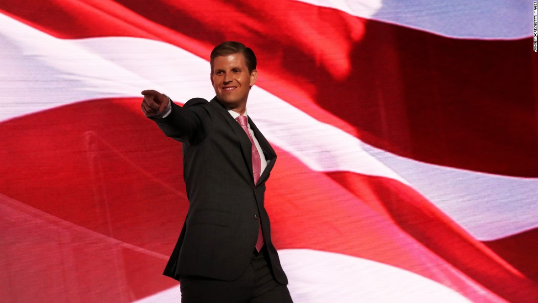Eric Trump, one of Donald Trump's sons, walks on stage to deliver a speech Wednesday.