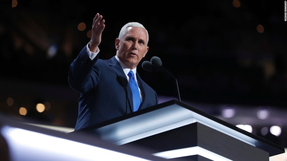 """I'm a Christian, a conservative and a Republican, in that order,"" Pence told the crowd."
