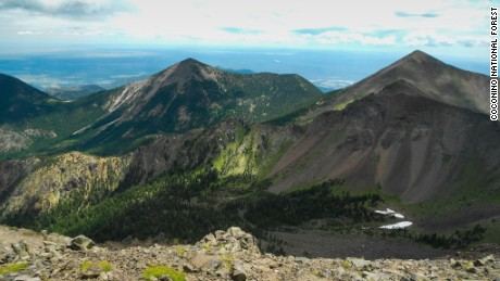 At 12,633 feet, Humphreys Peak is the highest point in the state and is a popular hike in the Flagstaff area.