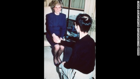 Princess Diana shook hands with a man with AIDS at Middlesex Hospital in London in April 1987.