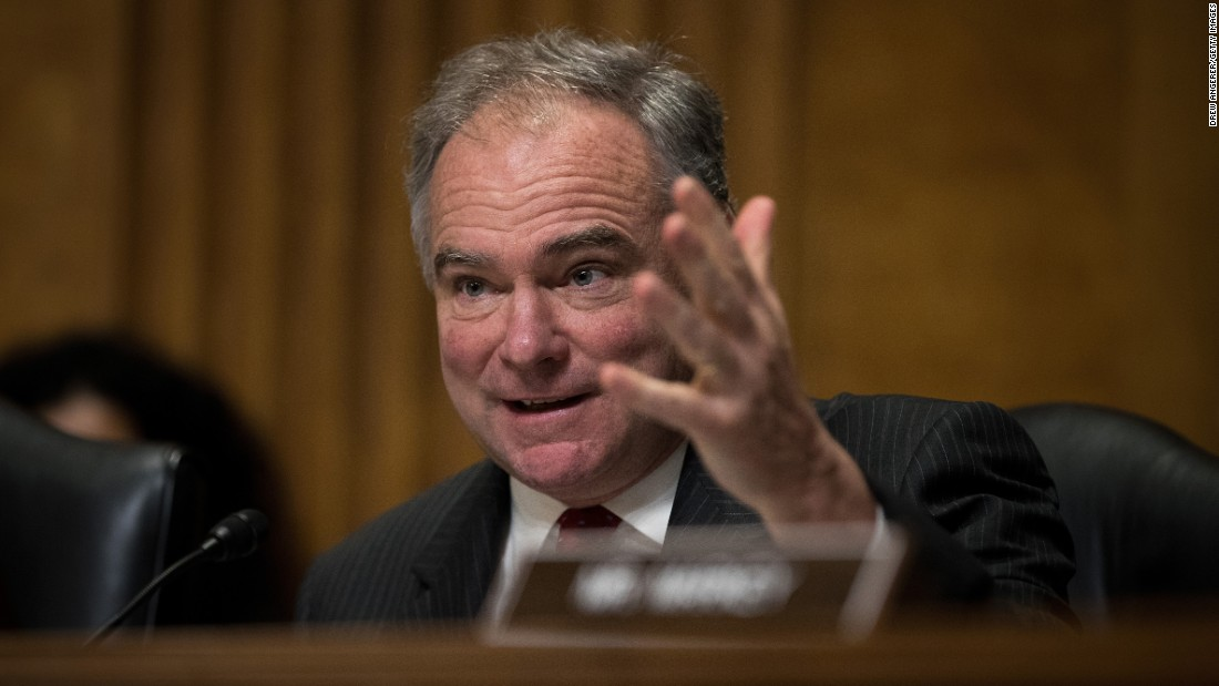 U.S. Sen. Tim Kaine, a Democrat from Virginia, questions witnesses during a Foreign Relations Committee hearing on May 26.