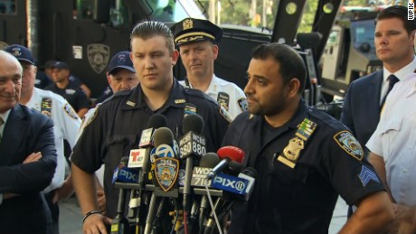The New York police commissioner calls Sgt. Hameed Armani, right, and Officer Peter Cybulski heroes.