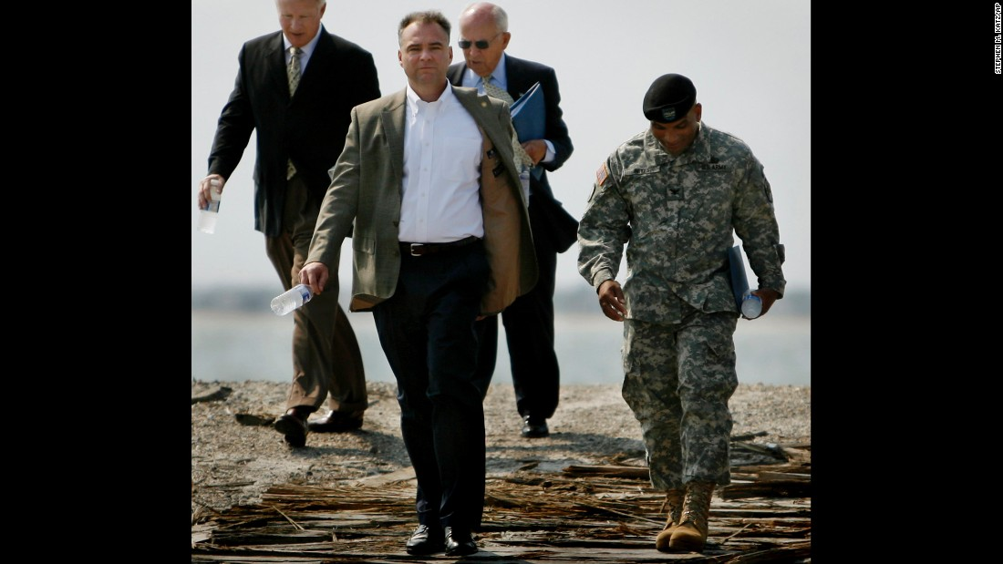 In 2008, Kaine gives a guided tour of the grounds at Fort Monroe in Hampton, Virginia.