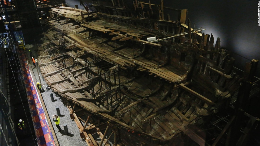 Henry VIII's warship, the Mary Rose, is seen after a revamp Tuesday, July 19, in Portsmouth, England. The ship, which sank in 1545, was raised from the Solent strait in 1982.