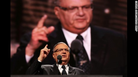 Maricopa County Sheriff Joe Arpaio delivers a speech on the fourth day of the Republican National Convention on July 21, 2016 at the Quicken Loans Arena in Cleveland, Ohio.