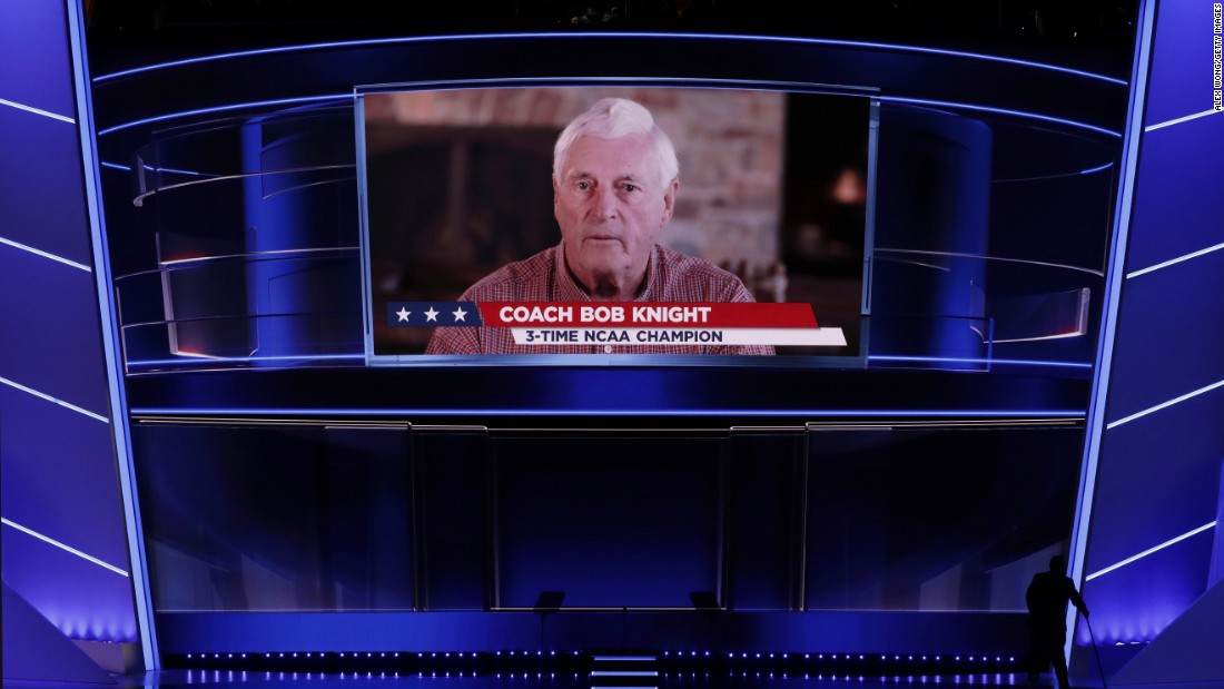 Legendary basketball coach Bob Knight delivers a video message to the crowd at Quicken Loans Arena.