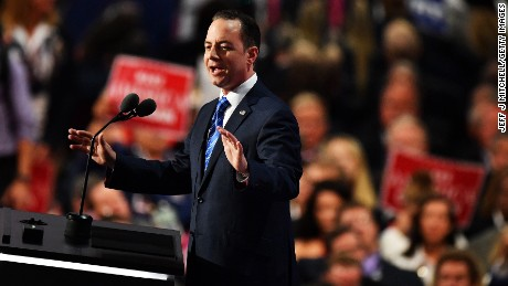 Reince Priebus, chairman of the Republican National Committee, delivers a speech during the evening session on the fourth day of the Republican National Convention on July 21, 2016 at the Quicken Loans Arena in Cleveland, Ohio. Republican presidential candidate Donald Trump received the number of votes needed to secure the party's nomination. An estimated 50,000 people are expected in Cleveland, including hundreds of protesters and members of the media. The four-day Republican National Convention kicked off on July 18.