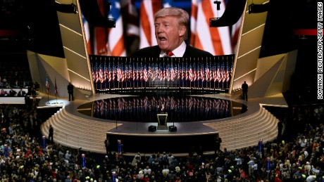 Republican presidential candidate Donald Trump addresses delegates on the final night of the Republican National Convention at the Quicken Loans Arena in Cleveland, Ohio on July 21, 2016.