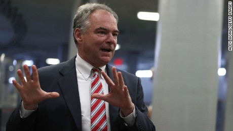U.S. Sen. Tim Kaine (D-VA) arrives at the Capitol July 6, 2016 in Washington, DC. Senate Democrats held a weekly policy luncheon to discuss Democratic agenda.