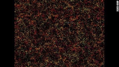 This is just a fragment of the 1.2 million galaxy map, showcasing 48,741 galaxies -- about 3% of the full dataset. Each dot shows where these galaxies were 6 billion years ago.
