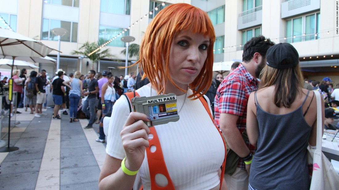 "iReporter Chris Morrow attended  Comic-Con and snapped photos of the unique outfits conventiongoers wore. Haley Smith, 30, dressed as her favorite sci-fi movie character, Leeloo  from the ""Fifth Element."""