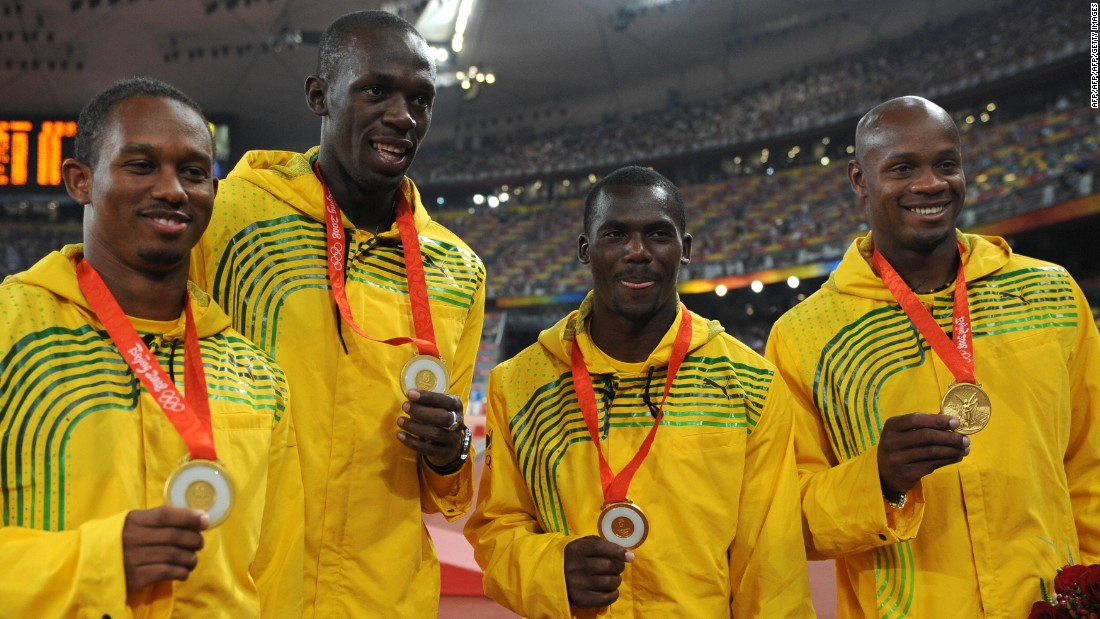 Partnered by Michael Frater, Asafa Powell and Nesta Carter, Bolt claimed gold in the 4x100m relay in a then record time of 37.10.
